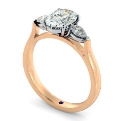 HRXTR146 Oval & Pear 3 Stone Diamond Ring - rose