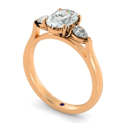 HRXTR146 Oval & Pear 3 Stone Diamond Ring - rose