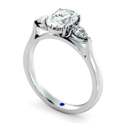 HRXTR146 Oval & Pear 3 Stone Diamond Ring - white