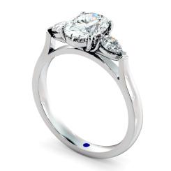 HRXTR146 Oval & Pear 3 Stone Diamond Ring - white