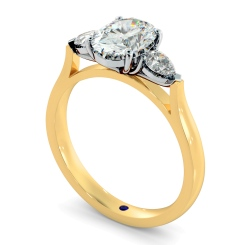 HRXTR146 Oval & Pear 3 Stone Diamond Ring - yellow