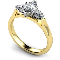 HRXTR147 Marquise & Pear 3 Stone Diamond Ring - yellow