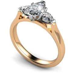 HRXTR147 Marquise & Pear 3 Stone Diamond Ring - rose