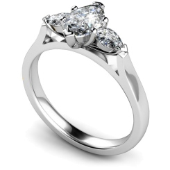 HRXTR147 Marquise & Pear 3 Stone Diamond Ring - white