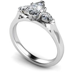HRXTR147 Marquise & Pear 3 Stone Diamond Ring - white