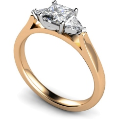 HRXTR148 Princess & Trillion 3 Stone Diamond Ring - rose