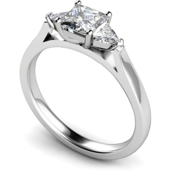 HRXTR148 Princess & Trillion 3 Stone Diamond Ring - white