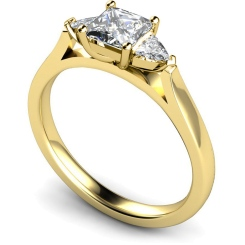 HRXTR148 Princess & Trillion 3 Stone Diamond Ring - yellow