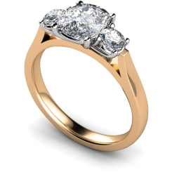 HRXTR152 Oval & Round 3 Stone Diamond Ring - rose