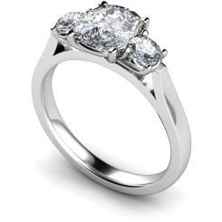 HRXTR152 Oval & Round 3 Stone Diamond Ring - white