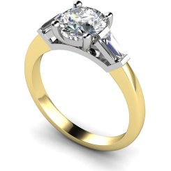 HRXTR157 Round & Baguettes 3 Stone Diamond Ring - yellow