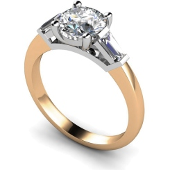 HRXTR157 Round & Baguettes 3 Stone Diamond Ring - rose