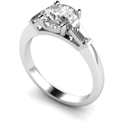 HRXTR157 Round & Baguettes 3 Stone Diamond Ring - white