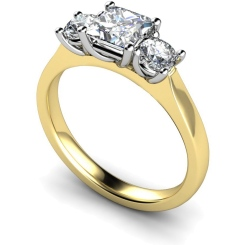 HRXTR164 Princess & Round 3 Stone Diamond Ring - yellow