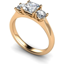 HRXTR164 Princess & Round 3 Stone Diamond Ring - rose