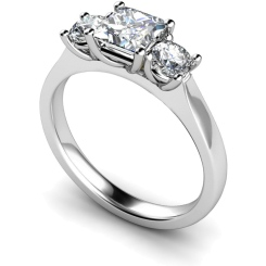 HRXTR164 Princess & Round 3 Stone Diamond Ring - white