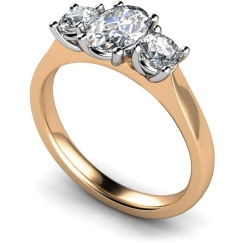 HRXTR165 Oval & Round 3 Stone Diamond Ring - rose