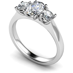 HRXTR165 Oval & Round 3 Stone Diamond Ring - white
