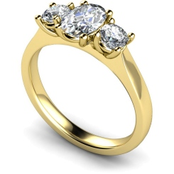 HRXTR165 Oval & Round 3 Stone Diamond Ring - yellow