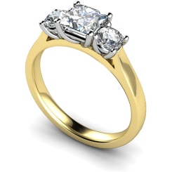 HRXTR169 Princess & Round 3 Stone Diamond Ring - yellow