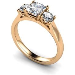HRXTR169 Princess & Round 3 Stone Diamond Ring - rose