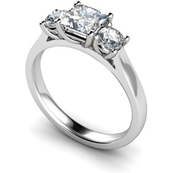 HRXTR169 Princess & Round 3 Stone Diamond Ring - white