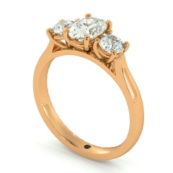 HRXTR170 Oval & Round 3 Stone Diamond Ring - rose
