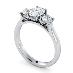 HRXTR170 Oval & Round 3 Stone Diamond Ring - white