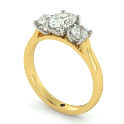 HRXTR170 Oval & Round 3 Stone Diamond Ring - yellow