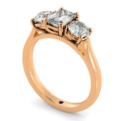 HRXTR171 Emerald & Round 3 Stone Diamond Ring - rose