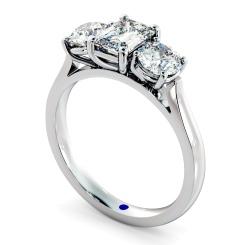 HRXTR171 Emerald & Round 3 Stone Diamond Ring - white