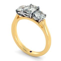 HRXTR171 Emerald & Round 3 Stone Diamond Ring - yellow