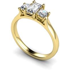 HRXTR173 Emerald & Princess 3 Stone Diamond Ring - yellow