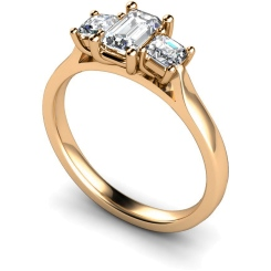 HRXTR173 Emerald & Princess 3 Stone Diamond Ring - rose
