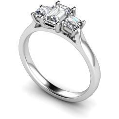HRXTR173 Emerald & Princess 3 Stone Diamond Ring - white