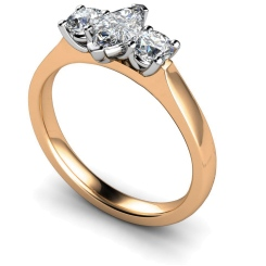 HRXTR174 Marquise & Round 3 Stone Diamond Ring - rose