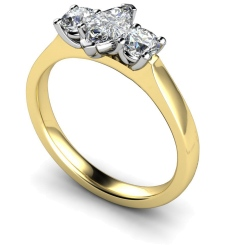 HRXTR174 Marquise & Round 3 Stone Diamond Ring - yellow