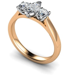 HRXTR175 Marquise & Round 3 Stone Diamond Ring - rose