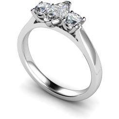 HRXTR175 Marquise & Round 3 Stone Diamond Ring - white