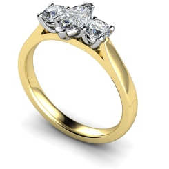 HRXTR175 Marquise & Round 3 Stone Diamond Ring - yellow
