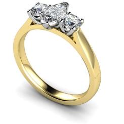 HRXTR175 Marquise & Round 3 Stone Diamond Ring - yellow