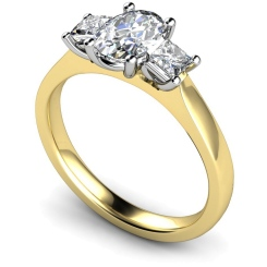 HRXTR178 Oval & Princess 3 Stone Diamond Ring - yellow