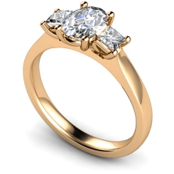 HRXTR178 Oval & Princess 3 Stone Diamond Ring - rose