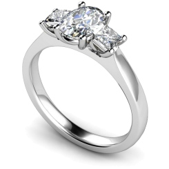 HRXTR178 Oval & Princess 3 Stone Diamond Ring - white