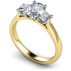 HRXTR179 Oval & Princess 3 Stone Diamond Ring - yellow