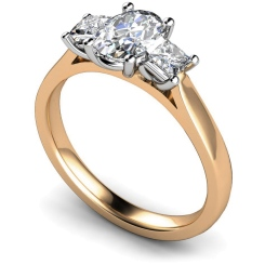HRXTR179 Oval & Princess 3 Stone Diamond Ring - rose