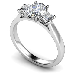 HRXTR179 Oval & Princess 3 Stone Diamond Ring - white