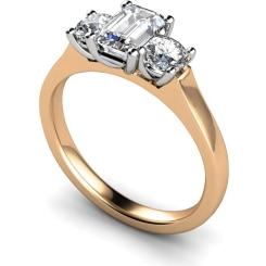 HRXTR181 Emerald & Round 3 Stone Diamond Ring - rose