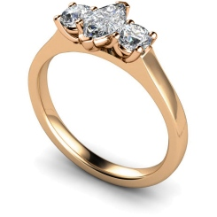 HRXTR186 Marquise & Round 3 Stone Diamond Ring - rose