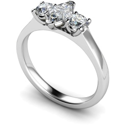 HRXTR186 Marquise & Round 3 Stone Diamond Ring - white